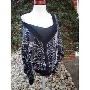 Vintage Abstract Print Oversized Cardigan Sweater